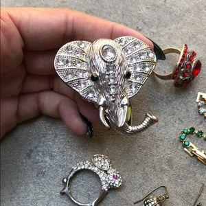 sparkle jewel jewelry lot elephant bunny rings